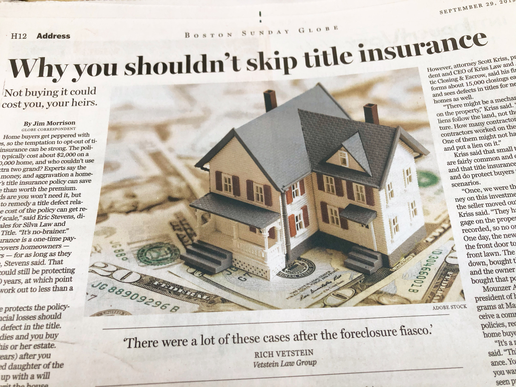 """Vetstein Says """"Yes, Always!"""" to Owner's Title Insurance in ..."""